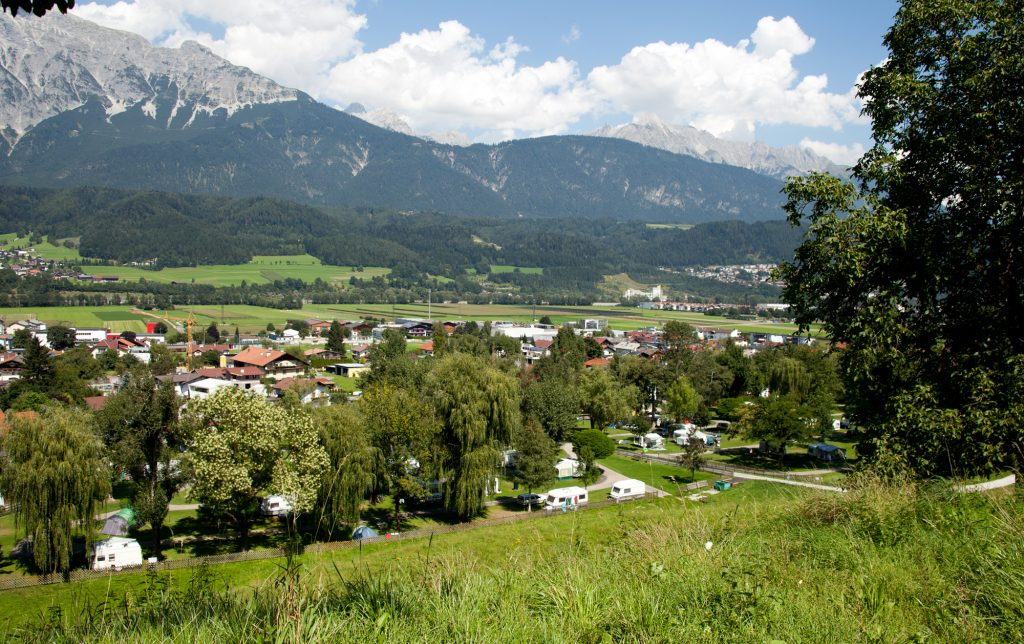 view at Schlosscamping Aschach camp ground tyrol